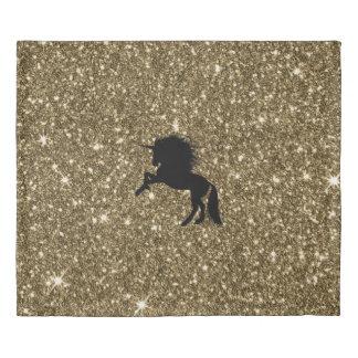 sparkling unicorn golden duvet cover
