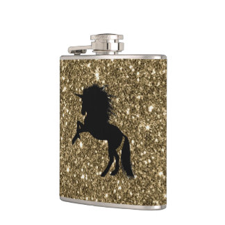 sparkling unicorn golden hip flask