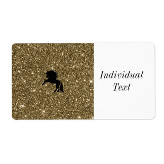 sparkling unicorn golden shipping label