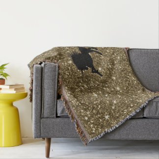 sparkling unicorn golden throw blanket