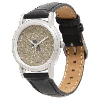 sparkling unicorn golden watch