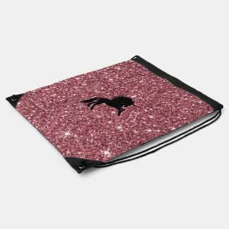 sparkling unicorn pink drawstring bag
