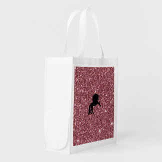 sparkling unicorn pink reusable grocery bag