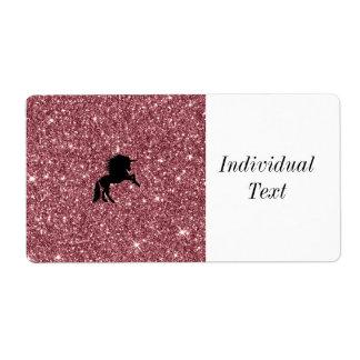 sparkling unicorn pink shipping label