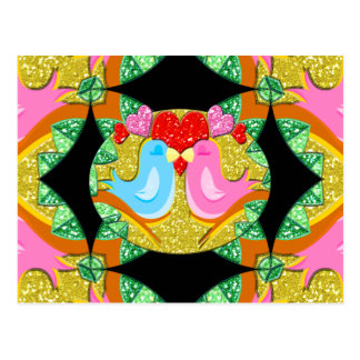 Sparkling Valentine Kissy Birds Post Cards