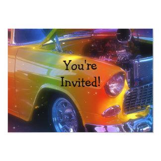 "Sparkling Vintage Classic Car Retirement Birthday 5"" X 7"" Invitation Card"