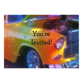 "Sparkling Vintage Classic Car Retirement Birthday 5"" X 7"" Invitation Card"