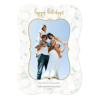 Sparkling White and Gold Happy Holidays Photo Card