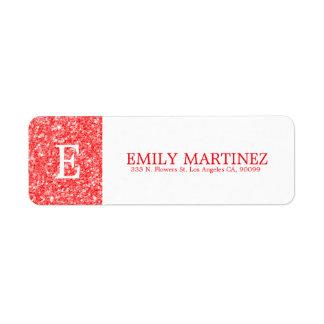 Sparkling White And Red Glitter Return Address Label