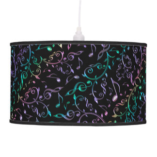 Sparkliy Music Notes On Black or Any Color Pendant Lamp