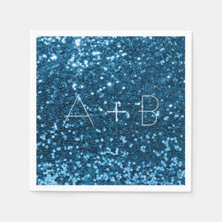 Sparkly Aqua Blue Sky Sequin Sparkly Glitter Disposable Napkin