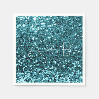 Sparkly Aqua Tiffany Blue Sequin Sparkly Glitter Napkin