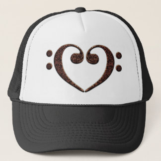 Sparkly Bass Clef Heart for Music Lovers Trucker Hat