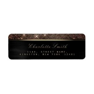 Sparkly Black Gold Luxury Copper RSVP Metallic Return Address Label