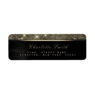 Sparkly Black Gold Luxury VIPReturn Address Labels