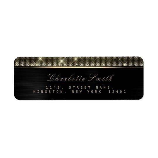 Sparkly Black Gold Luxury VIPReturn Address Labels