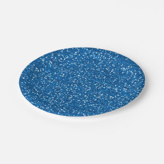 Sparkly Blue Glitter Paper Plate
