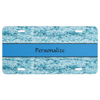 Sparkly Blue Glitter Personalize License Plate