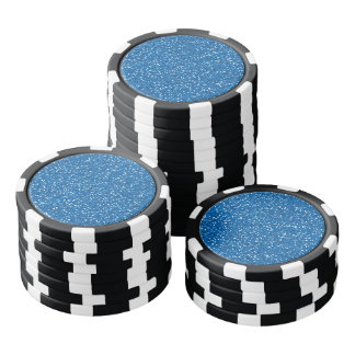 Sparkly Blue Glitter Poker Chips