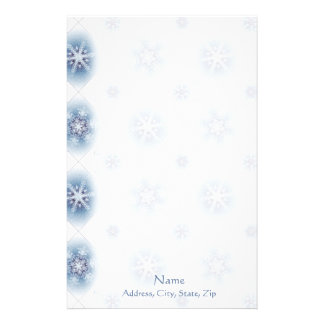 Sparkly Blue Snowflakes Customized Stationery