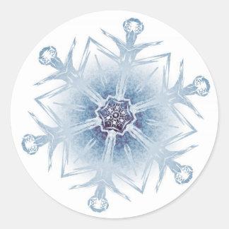 Sparkly Blue Snowflakes Round Sticker