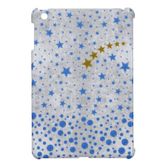 Sparkly blue stars on abstract silver paper cover for the iPad mini