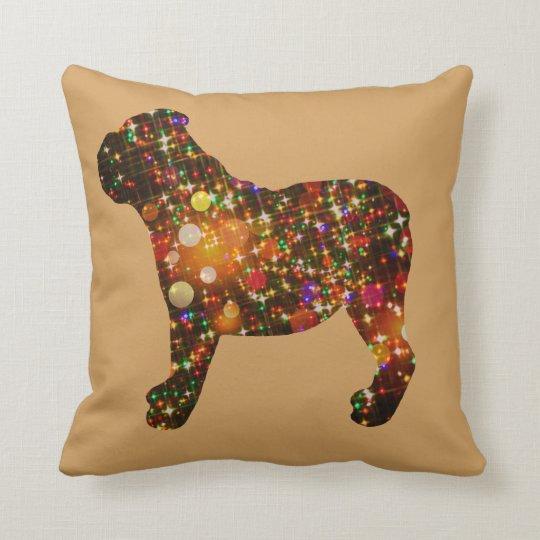 Sparkly Bulldog Bokeh Silhouette Throw Pillow
