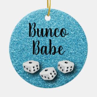 Sparkly Bunco Babe Faux Blue Glitter Chic Ceramic Ornament