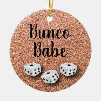 Sparkly Bunco Babe Faux Rose Gold Glitter Ceramic Ornament