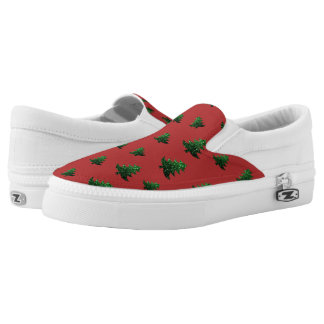 Sparkly Christmas tree green sparkles pattern red Slip-On Sneakers