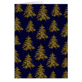 Sparkly Christmas tree on blue Card