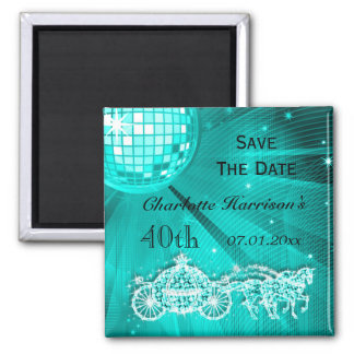 Sparkly Coach & Horses 40th Birthday Save The Date Fridge Magnet