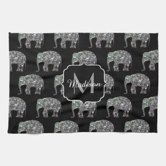 Sparkly colourful silver mosaic Elephant Monogram Kitchen Towel