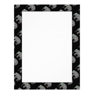 Sparkly colourful silver mosaic Elephant pattern Letterhead Template