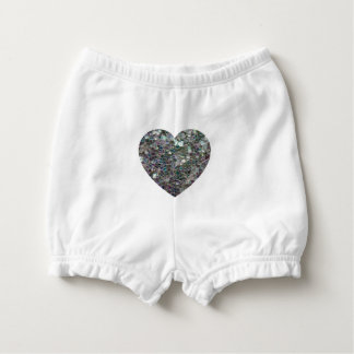 Sparkly colourful silver mosaic Heart Diaper Cover