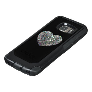 Sparkly colourful silver mosaic Heart on Black OtterBox Samsung Galaxy S7 Case