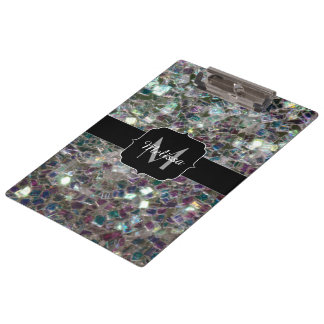 Sparkly colourful silver mosaic Monogram Clipboard