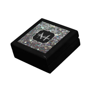 Sparkly colourful silver mosaic Monogram Gift Box