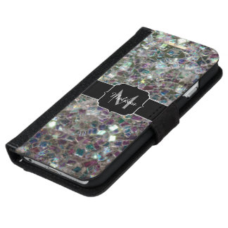 Sparkly colourful silver mosaic Monogram iPhone 6 Wallet Case