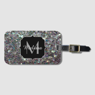 Sparkly colourful silver mosaic Monogram Luggage Tag