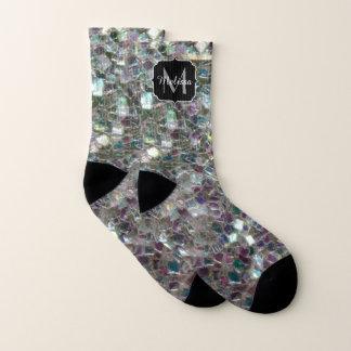 Sparkly colourful silver mosaic Monogram Socks