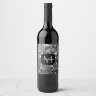 Sparkly colourful silver mosaic Monogram Wine Label