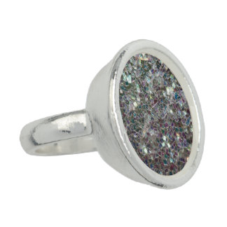 Sparkly colourful silver mosaic rings