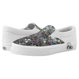 Sparkly colourful silver mosaic Slip-On sneakers
