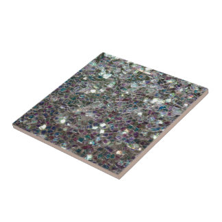 Sparkly colourful silver mosaic tile