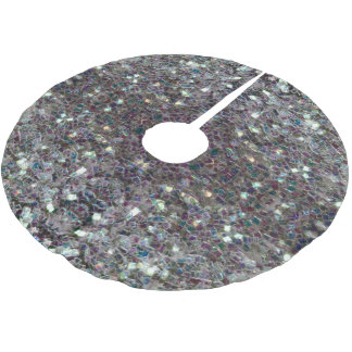 Sparkly colourful silver mosaic v3 brushed polyester tree skirt