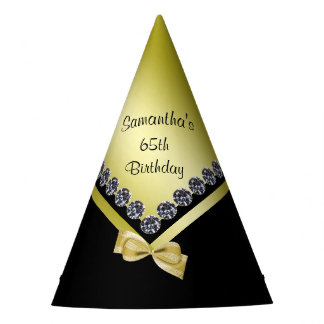 Sparkly Diamonds & Gold Bow 65th Birthday Party Hat