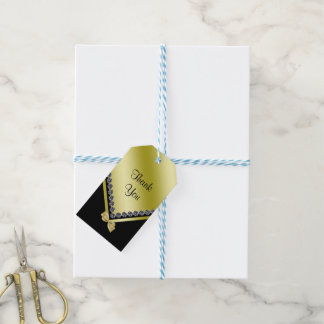 Sparkly Diamonds & Gold Bow 70th Birthday Gift Tags