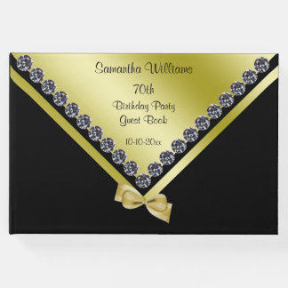 Sparkly Diamonds & Gold Bow 70th Birthday Guest Book