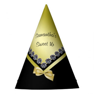 Sparkly Diamonds & Gold Bow Sweet 16 Party Hat